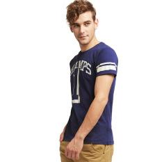 Esprit Worn Print Cotton Jersey T-Shirt - Dark Blue