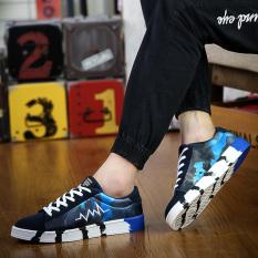 ESSAN New Summer Fashion Men Casual Shoes Lightning Camo Flats (Blue) - Intl