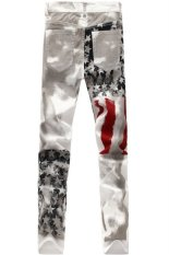 European Fashion Style Men's Flag Printing Straight Leg Pants (White)