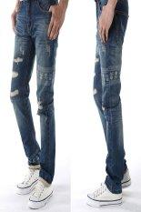 European Style Fashion Men Skull and Crossbones Printed Jeans (Blue) (Intl)