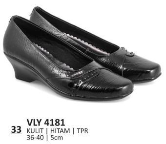 Everflow Sepatu Formal Pantofel Wanita Heels VLY 4181 - Kulit - Hitam