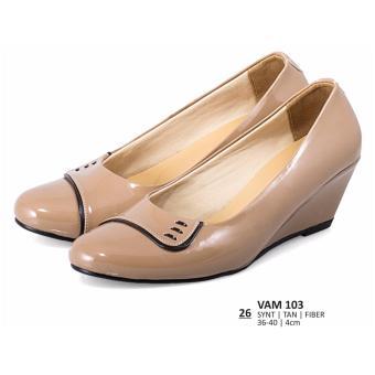 Everflow Sepatu Formal / Sepatu Pantofel / Sepatu Kerja / Sepatu High Heels Wanita Everflow VAM 103 Coklat Muda