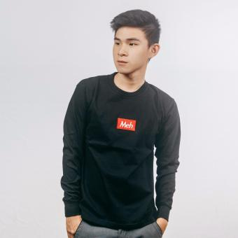 Exquis Long Sleeve T-shirt With Letter Embroidery In Black (Unisex)