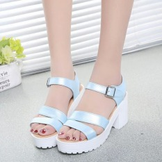 Factory direct sale Women Summer shoes white Black fashion platform soft PU sandals women's high-heeled shoes thick heel sandals(Blue) - Intl
