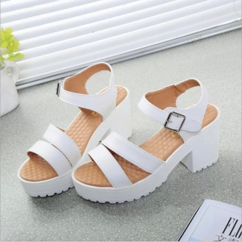 Factory direct sale Women Summer shoes white Black fashion platform soft PU sandals women's high-heeled shoes thick heel sandals(White) - Intl
