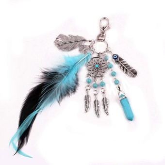 Family Retro Key Chain Bohemian Alloy Dream Catcher PendantNecklace Feather Tassels Sets Key Chain Accessories - intl