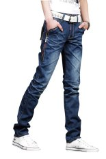 Fanco Men's Classic Stylish Designed Straight Slim Fit Trousers Casual Jean Pants Blue