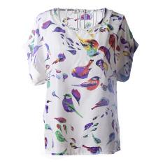 Fancyqube 2014 Summer Casual Womens Crew Neck Short Sleeve T Shirt Women Loose Fit Batwing Tees Print Pattern Chiffon T-Shirt WF-9239 Multicolor - Intl