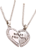 Fancyqube Fashion Plated Golden&Silver Small Heart-shaped Necklace Necklace Pendants Silver