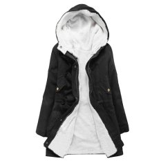 Fang Fang Ladies Winter Warm Long Parka Zip Up Inner Fleece Coat Jacket (Black)