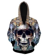 Fang Fang Men's Hooded Sweater 3D Skull Print Zipper Cardigan Hoodie (Glasses Skull)