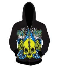 Fang Fang Men's Hooded Sweater 3D Skull Print Zipper Cardigan Hoodie (Green Skull) - Intl