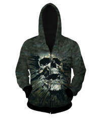 Fang Fang Men's Hooded Sweater 3D Skull Print Zipper Cardigan Hoodie (Shouted Skull)