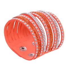 Fang Fang Multi-layer Leather Wrap Wristband Cuff Bracelet Orange