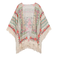 Fang Fang Women Fringe Floral Kimono Cardigan Tassels Beach Cover Up Cape Jacket (Colorful)