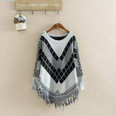 Fang Fang Women's Diamond Tassel Poncho Cape Shawls Batwing Sweater Cloak With Sleeves (Gray)