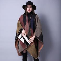 Fang Fang Women's Winter Reversible Oversized Blanket Poncho Cape Shawl Cardigans (Khaki)