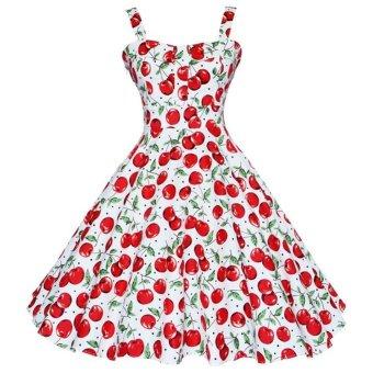 Fangfang ZAFUL 4XL Women Dress Summer Sleeveless Casual Retro Vintage 1950 s 60 s Cherry Big