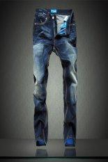 Fashion American Men's Straight Legs Jeans Blue (Intl)