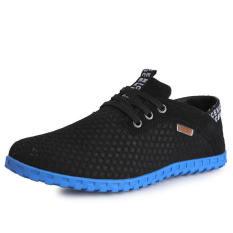 Fashion Breathable Mesh Sport Lace-Ups Men Low Cut Sneakers-Black