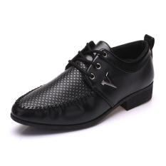 Fashion British Style Breathable Outdoor Business Casual Shoes Handmade Genuine Leather Shoes Invisible Heighten - Intl