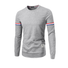 Fashion Casual Men's Round Neck Long-sleeved T-shirt Color Ribbon Decoration Light Grey (Intl)