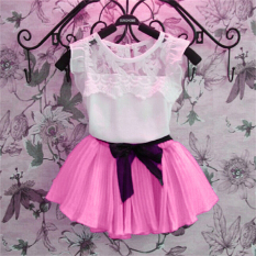 Fashion Children Girls Short Sleeve Lace Chiffon Splice Blouse Tops Elastic Waist Pleated Mini Skirt Two Piece Set-pink - intl