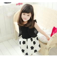 Fashion Girls Short Sleeved Chiffon Dress Fashion Princess Dress Clothing-black - intl