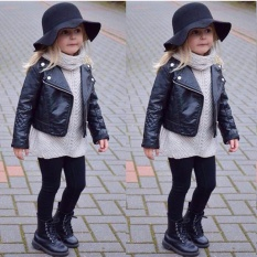 Fashion Kids Girl Fashion Motorcycle PU Leather Jacket Biker Coat Overcoat Black - intl