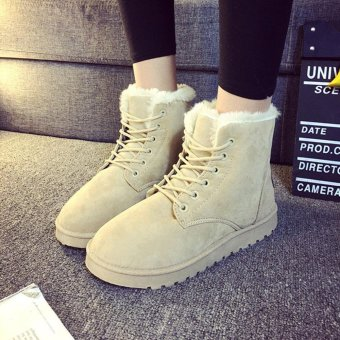 056c9e1cdb605 Fashion Ladies Women Boots Flat Ankle Lace Up Fur Lined Winter Warm Snow  Shoes - intl