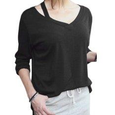 Fashion Ladies Women Plus Size Asymmetric Collar Long Sleeve Loose Casual Long Tops Blouse-black-M (EXPORT)