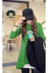 Fashion Loose Casual Long Sleeve Irregular Hem Cotton Long T-Shirt Women's (Green) (EXPORT) (Intl)