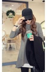Fashion Loose Casual Long Sleeve Irregular Hem Cotton Long T-Shirt Women's (Grey) (EXPORT) (Intl)