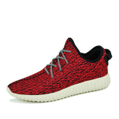 Fashion Men Fly Weave Skater Shoes-Red