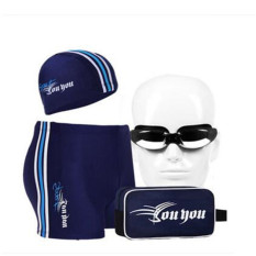 Fashion Men Swimwear Summer Beach Swimming Trunks Swimming Glass Set(Navy Blue/White+Plating Glasses Lens) - Intl