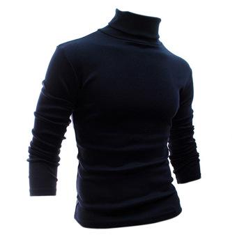 Fashion Musim Gugur Musim Dingin Pria Kemeja Pola Padat Sweter Turtleneck Sweater Biru
