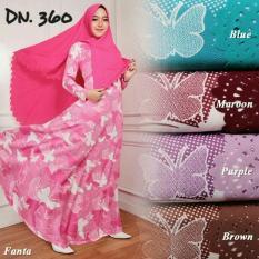 FASHION MUSLIM / Gamis Syari 360 Kupu Pink Baju Muslim Gamis Misbe Murah