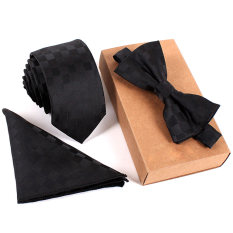 Fashion Polyester Silk Neckties + Handkerchief + Bow Tie Set Skinny Ties Pocket Square Towel Bowtie Wedding For Men