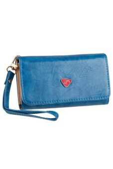 Fashion PU Leather CellPhone Card Holder Coin Bag Long Purse Wallet Handbag Case (Blue)