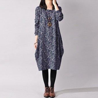Fashion Vintage Style Women Long Sleeve Floral Printed Cotton Long Shirt Dress Kaftan (Blue)