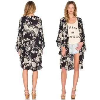 Fashion Wanita Pantai Boho Motif Bunga Lepas Pantai Panjang Kimono Kardigan M - International