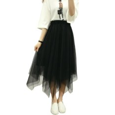 Fashion wanita rok Tutu tule baru 2016 musim panas 3 lapisan jala Midi rok lipit (hitam)