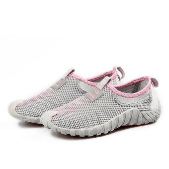 Fashion wanita sepatu kets olahraga bernapas lembut dan datar (Abu-Abu    Berwarna Merah 0989f93f41