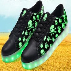 Fashion White Black RED Flat LED Casual Shoes 2016 New High-top Plus Size Led Shoes Men 7 Colors Light Shoes - Intl