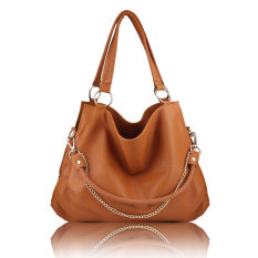 Fashion Women Handbags PU Leather Large Shoulder Bags Ladies Large Tote Bags (Coffee) - Intl