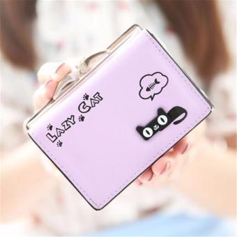 Fashion Women Lady Purse Handbag Clutch Change Coin Card Holder Bag Short Wallet Purple