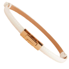 Fashion Women Lady Waist Belt PU Faux Leather Candy Color Skinny Belt (White)