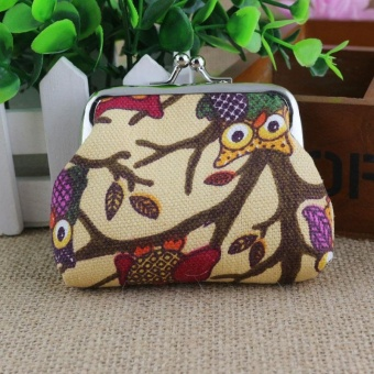 Fashion Women Lovely Style Lady Small Wallet Hasp Owl Purse Clutch Bag -Khaki - intl