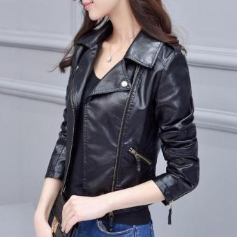 d5726be31 Harga Fashion Women Slim Fit PU Leather Jacket Female Short Style ...
