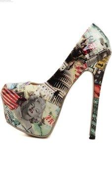 Fashion Women Ultra High Heel PU Leather Round Toe Pumps - INTL